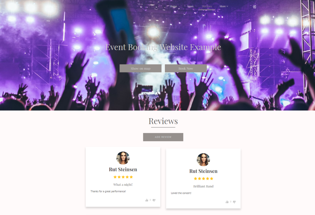 event booking page