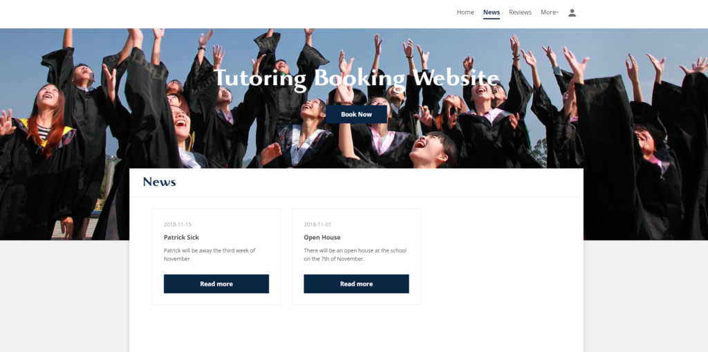 Example booking website for tutoring