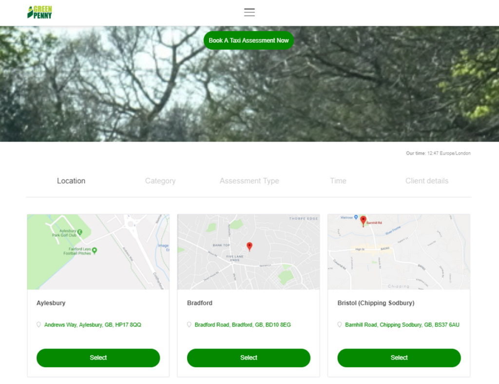 Green Penny Booking Page