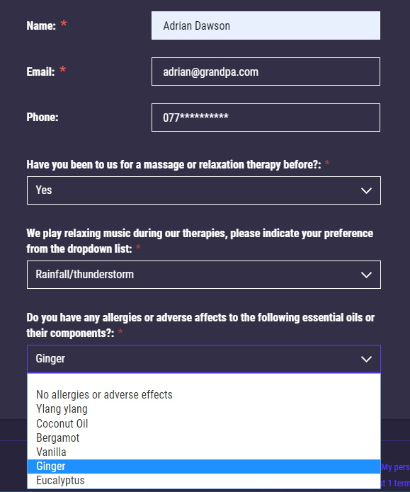 Intake form for a massage