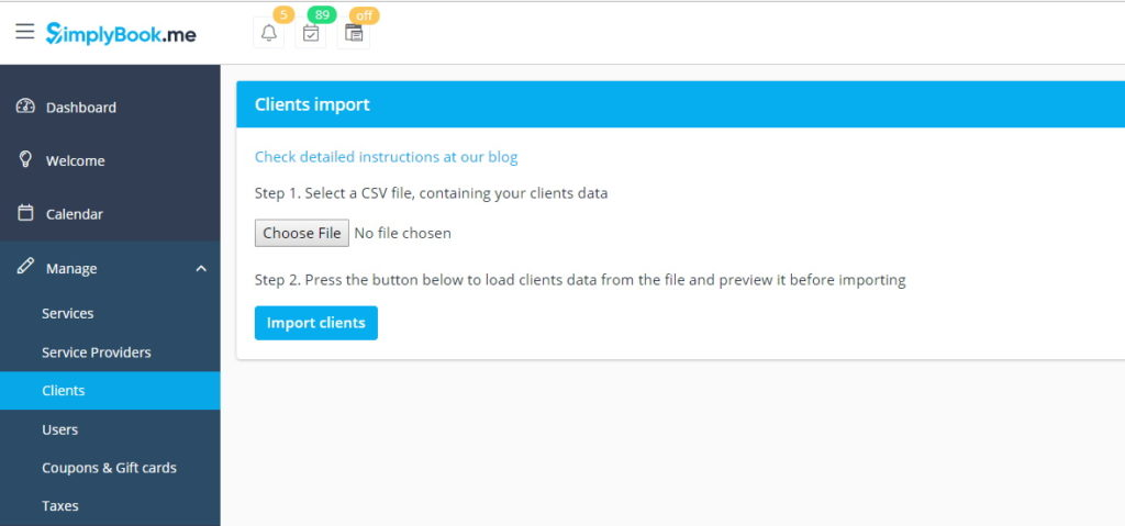 Import Clients from CSV