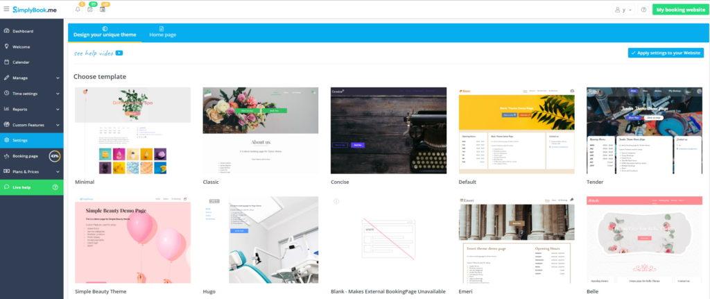 Theme template design settings