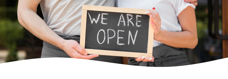 """reopening - """"hey, we're open"""""""