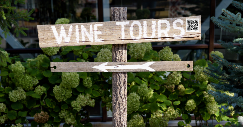 Scheduled entertainment wine tours with QR code