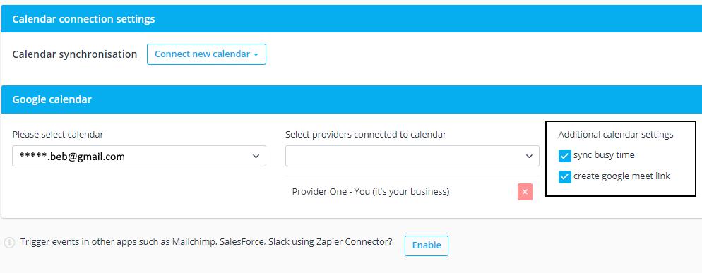 Google Calendar Sync Set Up with Google Meet Options.