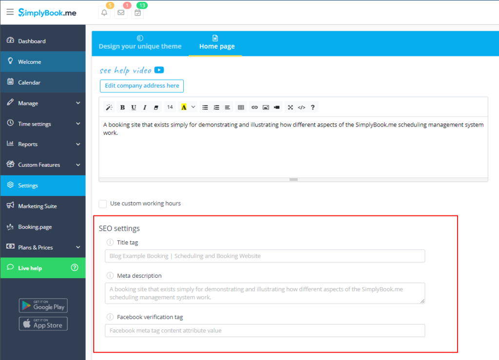 Improve your SEO Settings on SimplyBook.me Interface